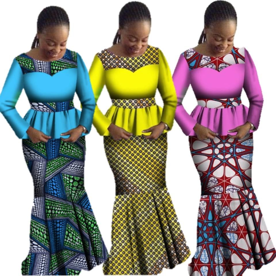 African Style Top and Long Skirt Women Cotton Print Kitenge Ankara X11061