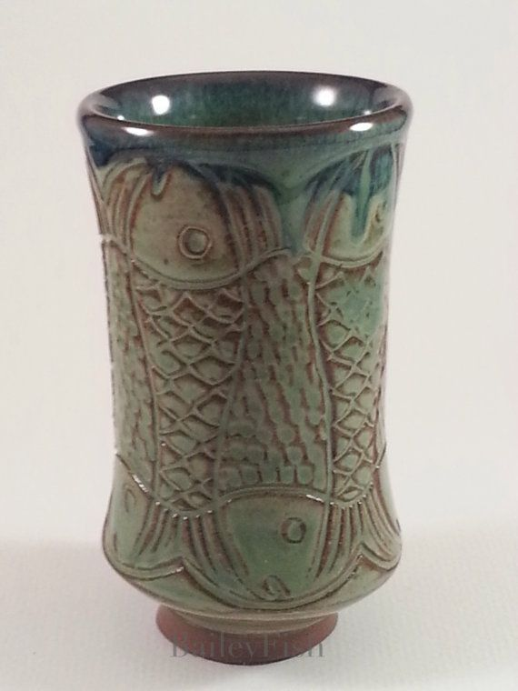 Green Footed Tumbler with Hand-carved BaileyFish by PamBailey
