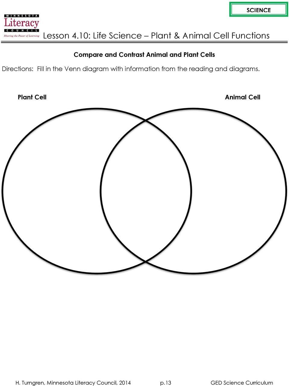 Cells Alive Worksheet Answers Plant and Animal Cell Venn