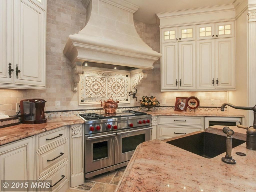 - Traditional Kitchen With Tile Bar Crema Marfil 2x4 Beveled Stone