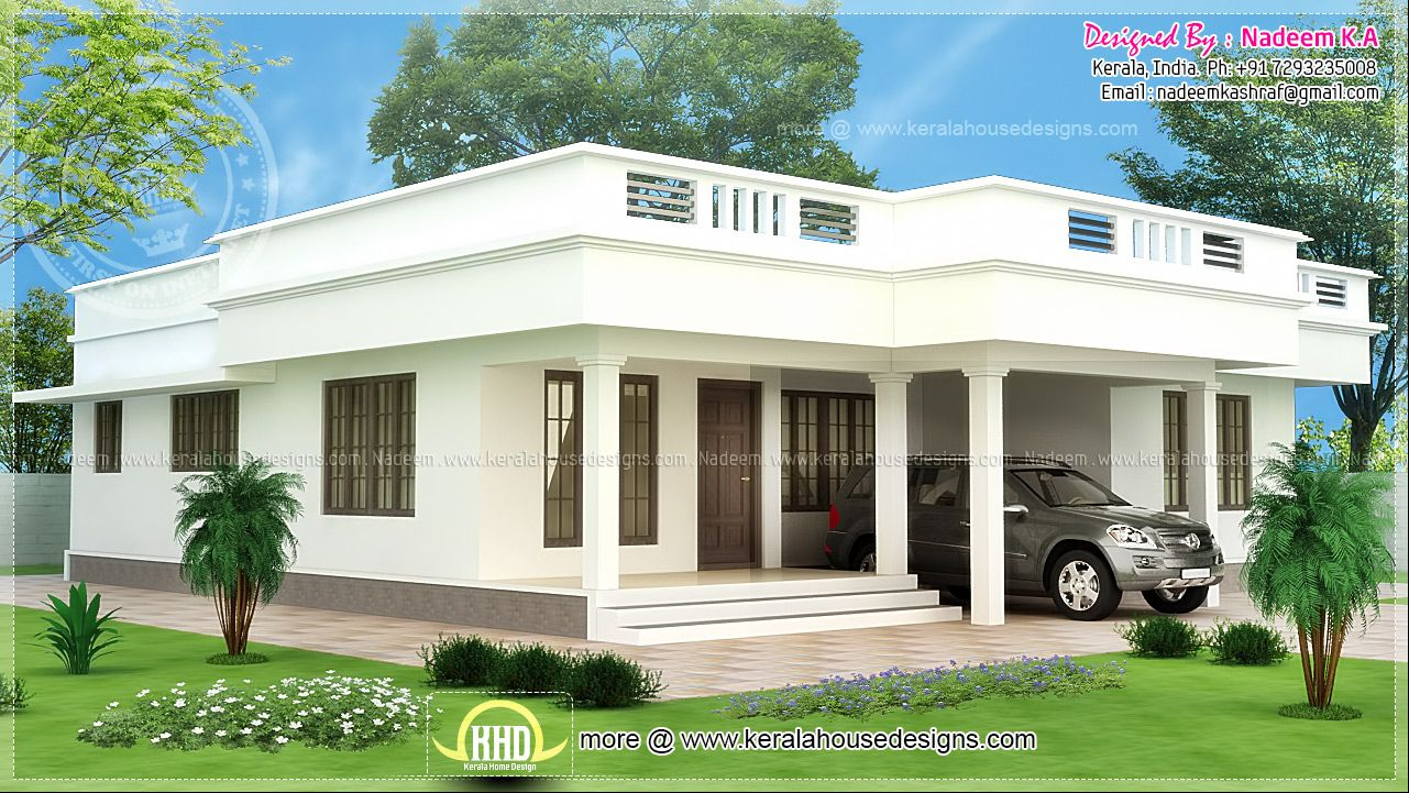 Jhmrad Com Browse Photos Of Flat Roof Single Storey Home Kerala Design With Resolution 1281x721 Pixel In 2020 Kerala House Design Flat Roof House Simple House Design