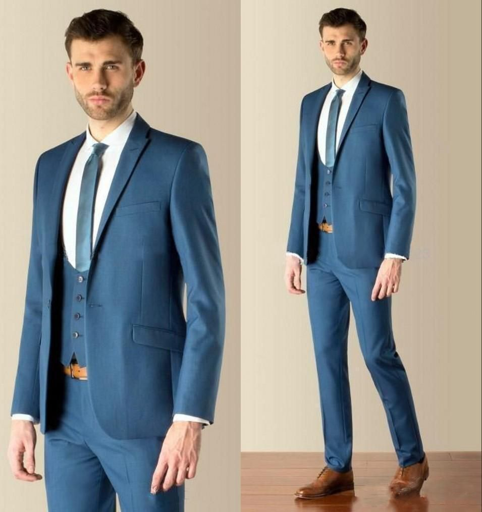 Blue One Button Slim Fit The Best Man Suits For Wedding Groom ...