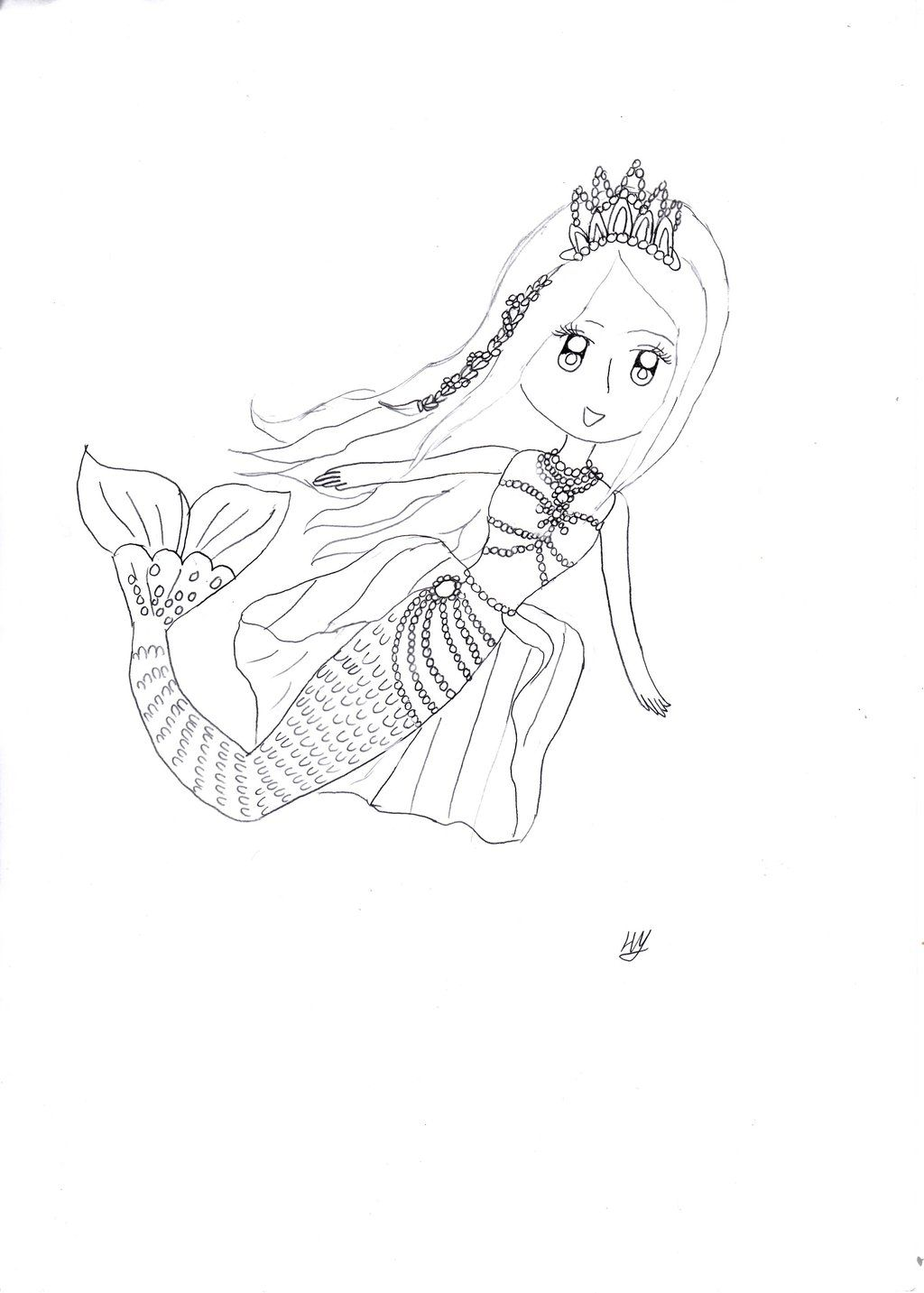 Mermaid princess coloring pages