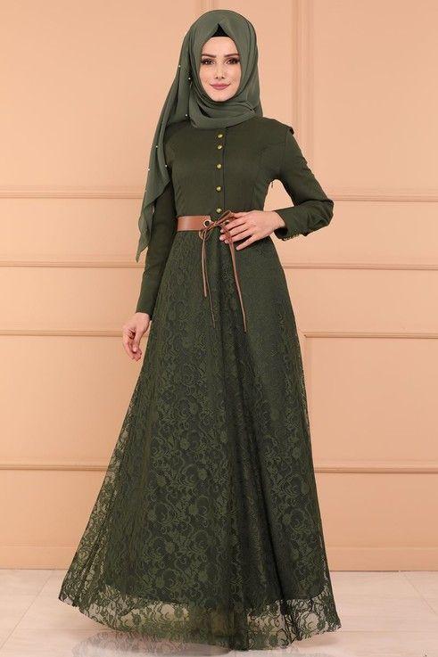 Modaselvim Elbise Etegi Dantel Elbise Msw8648 Haki Basortusu Modasi The Dress