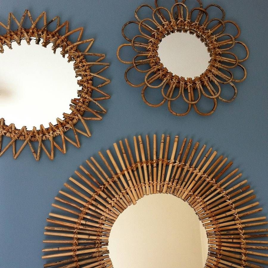 Set Of Five Rattan Sunburst Mirrors