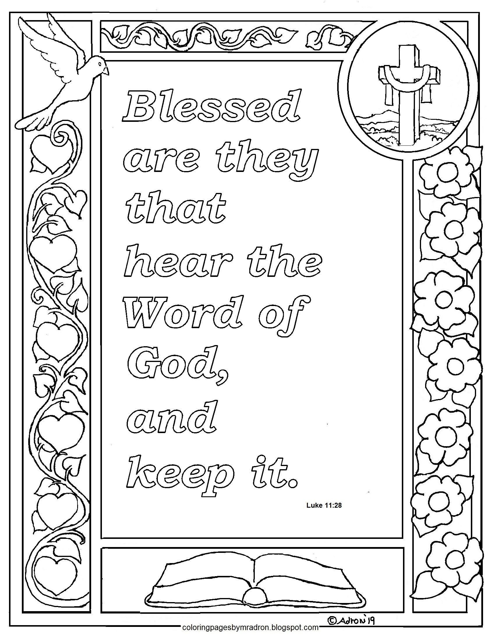 Luke 11 28 Print And Color Page Blessed Are They Who Hear The