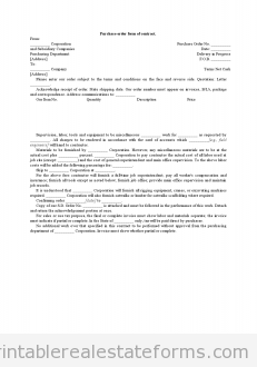 Purchase Order Form Of Contract  Real Estate    Order