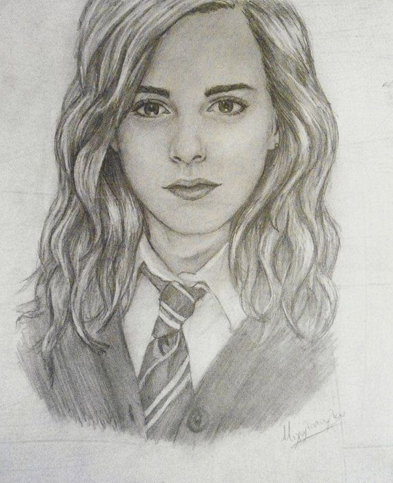 Hermione granger emma watson original portrait art inspiration harry potter drawings - Harry potter dessin ...