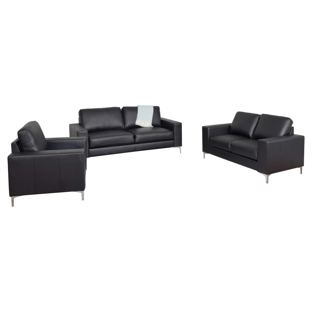 Cory 3pc Contemporary Black Bonded Leather Sofa Set - Corliving