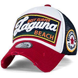 32ecb6ad014 ililily LAGUNA BEACH Vintage Distressed Trucker Hat Snapback Baseball Cap
