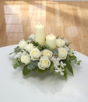 Image Detail For Elegance White Candle Flower Arrangement Send Sympathy Flowers Candle Arrangements Funeral Arrangements Church Flower Arrangements