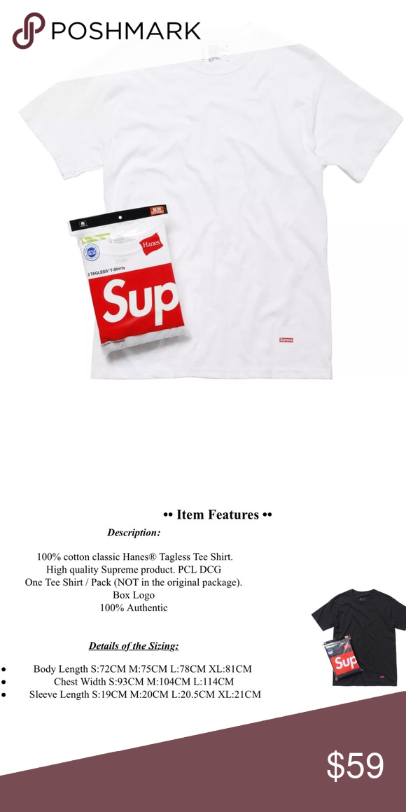 e96d4a57 Supreme x Hanes tagless T-shirt NEW SIZING CHART IN PICTURES COLOR WHITE Shirts  Tees - Short Sleeve