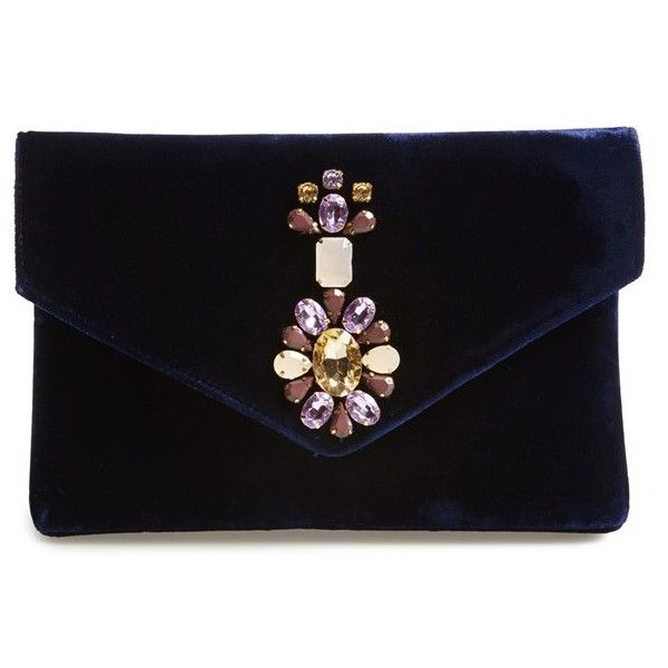 Women's Shiraleah 'Mindy' Beaded Velvet Clutch ($56) ❤ liked on Polyvore featuring bags, handbags, clutches, bolsos, purses, envelope clutch bag, man bag, hand bags, evening handbags and handbags purses