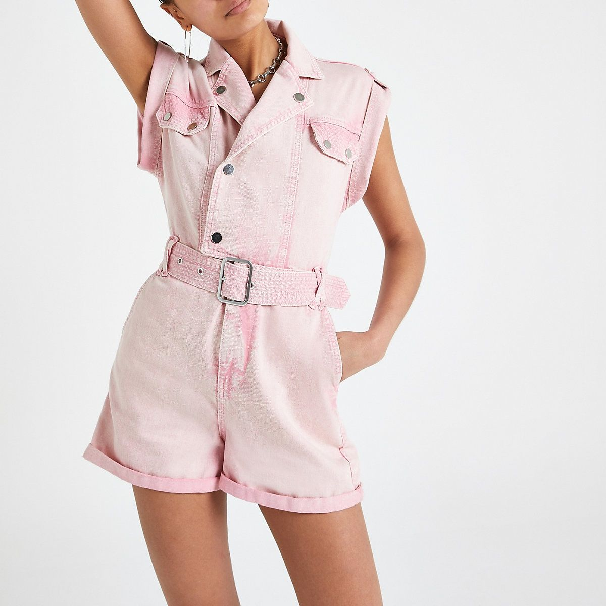 release date largest selection of comfortable feel River Island Pink utility denim romper in 2019 | Spring 2019 ...