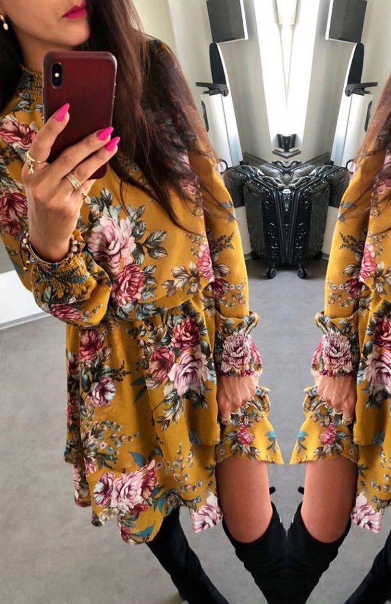 ae02503e1f02df Lola sukienka w kwiaty musztardowa - Sukienki w kwiaty - Sukienki  rozkloszowane - MODA DAMSKA - Sklep internetowy Intimiti.pl