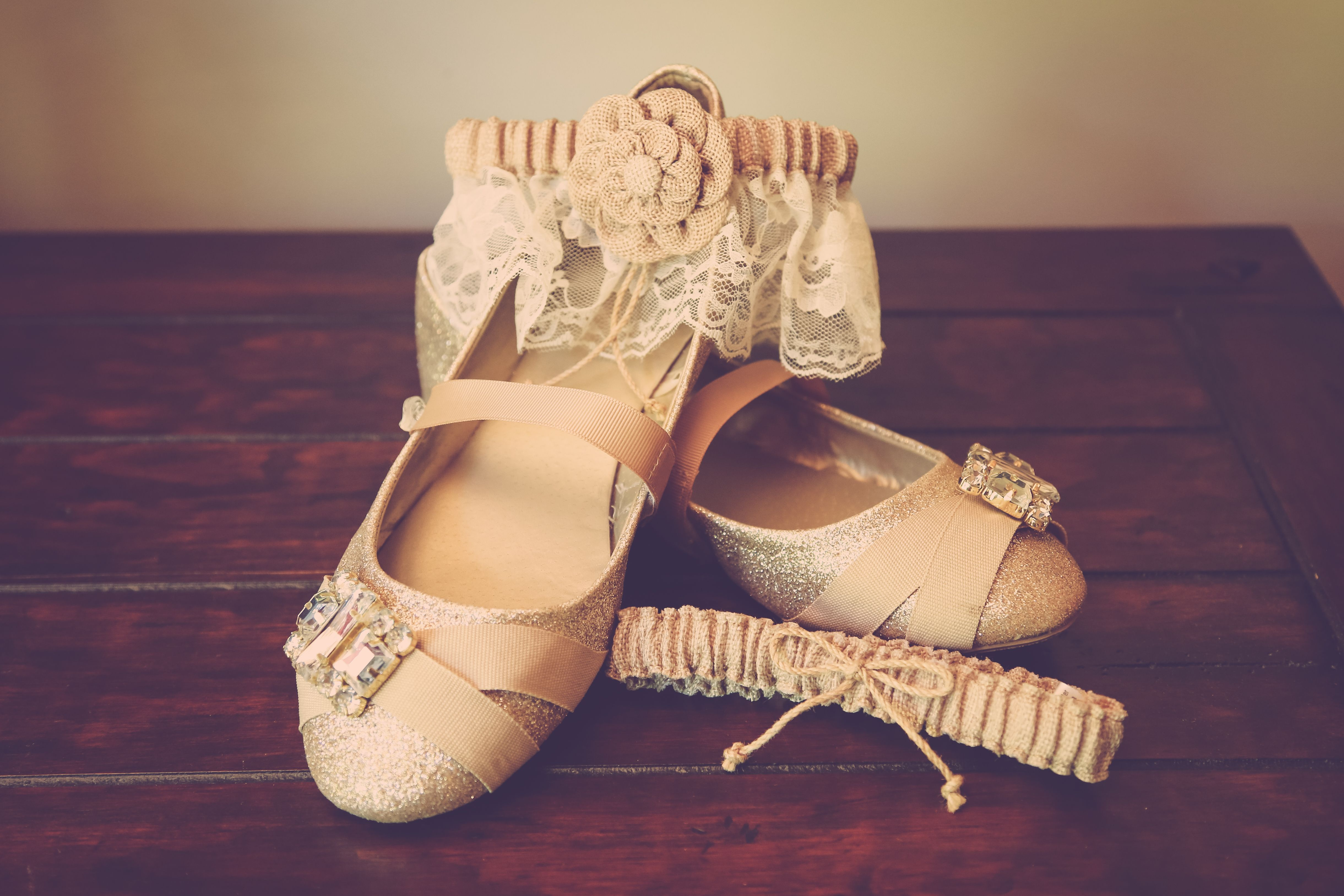 gold shoes and lace