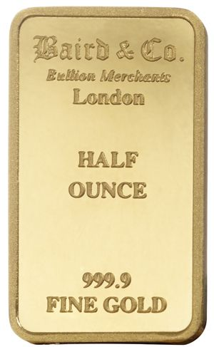 Buy Baird 1 2 Ounce Gold Bar Online The 1 2 Ounce Gold Bullion Bar Contains 1 2 Ounce Of Pure Gold And Is M Gold Bullion Bars Gold Bullion Buy Gold And Silver