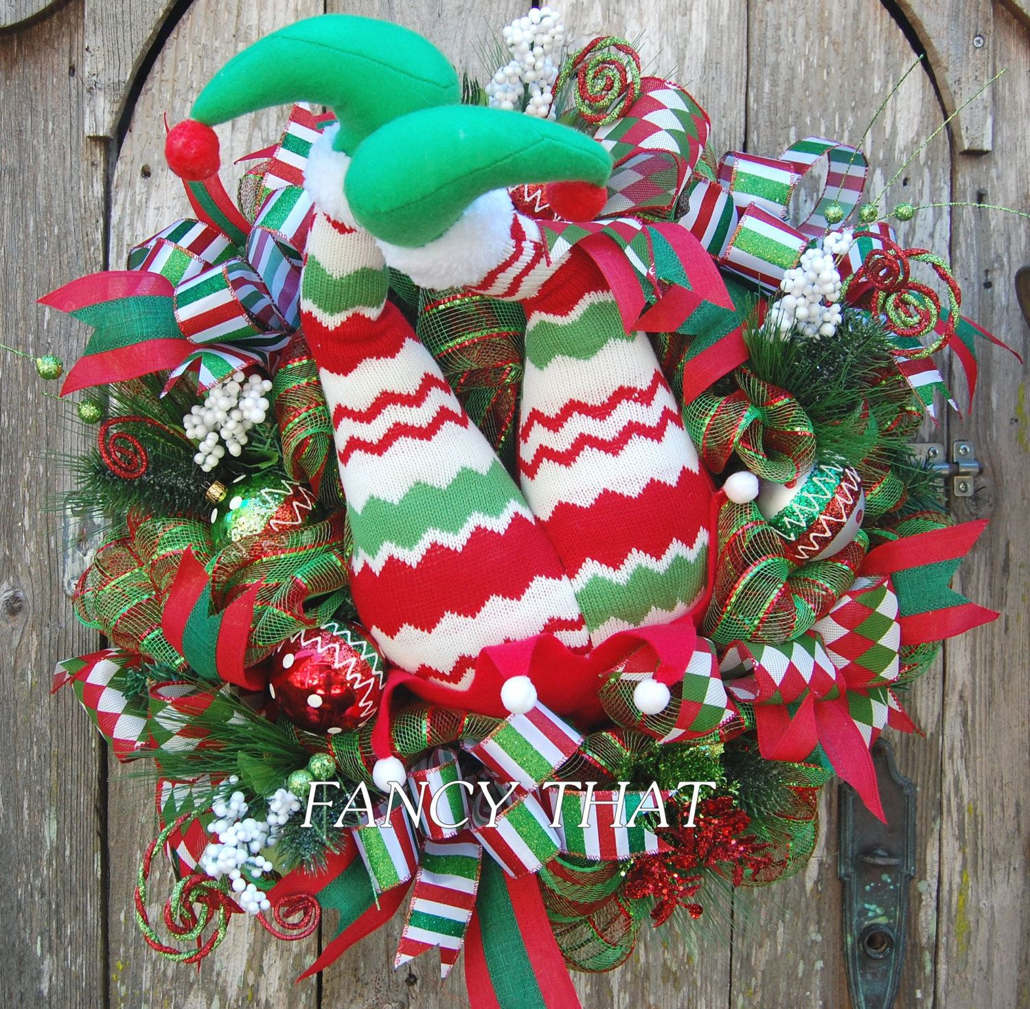 REDUCED!!! Elf Butt Wreath, Elf Legs, Christmas Wreath