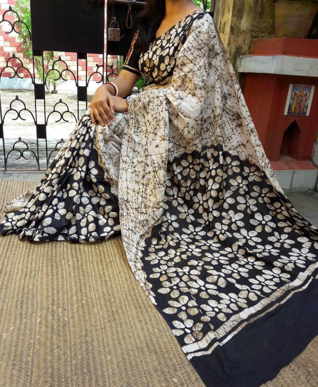 e43aa80b78 Malmal cotton hand batik with blouse #black and white flower bathik print  saree