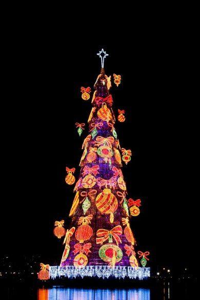 Rio De Janeiro S 280 Foot Tall Tree Floats In The Middle Of The Rodrigo De Freitas Lagoon During A Ligh Unusual Christmas Trees Christmas Tree Christmas World