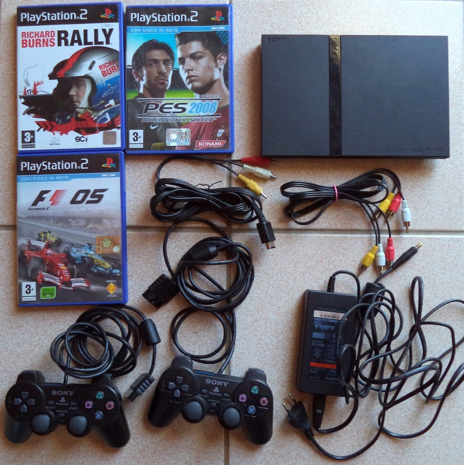 Sony Slim Playstation 2 Ps2 Bundle Controllers Dualshock 3 Games Controller 8 Mb Tested