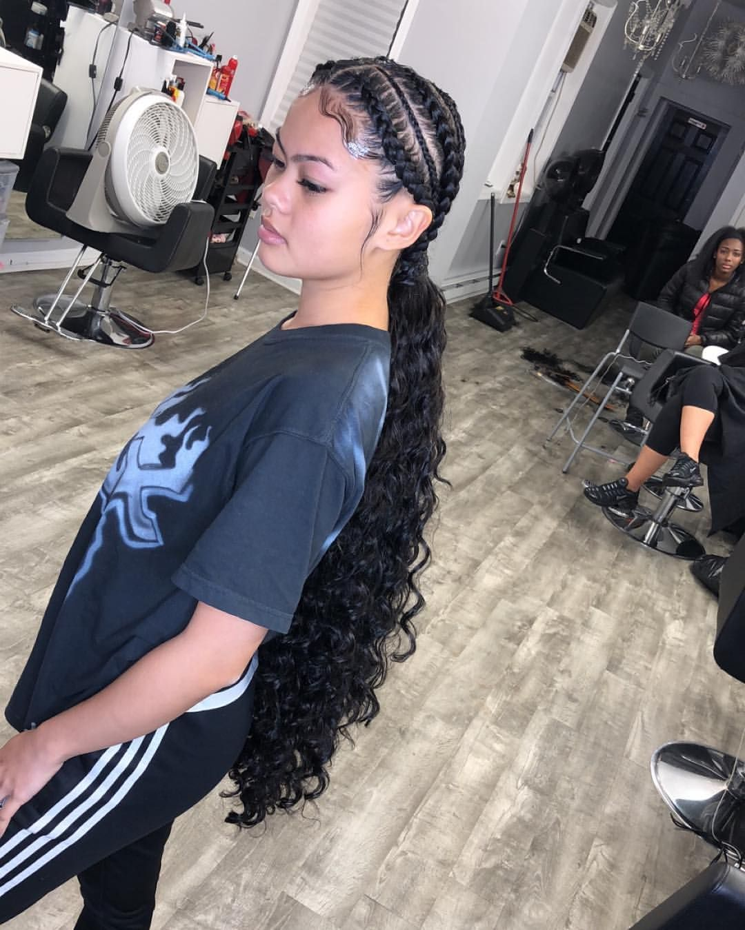 Feed In Braids With Invisible Ponytail Hair By Minnie Braid Front Of Hair Hot Hair Styles Braids With Curls