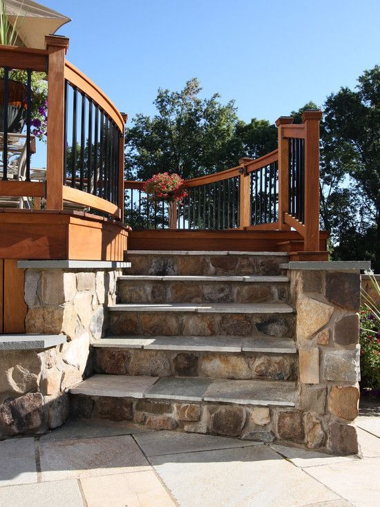 Wood Patio Steps Pictures: Wood Deck With Stone Steps - Google Search
