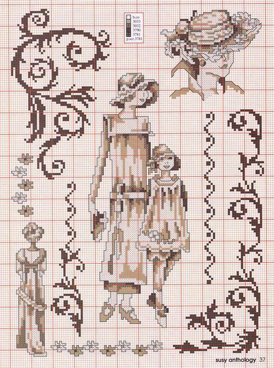 point de croix femme vintage - cross stitch woman:
