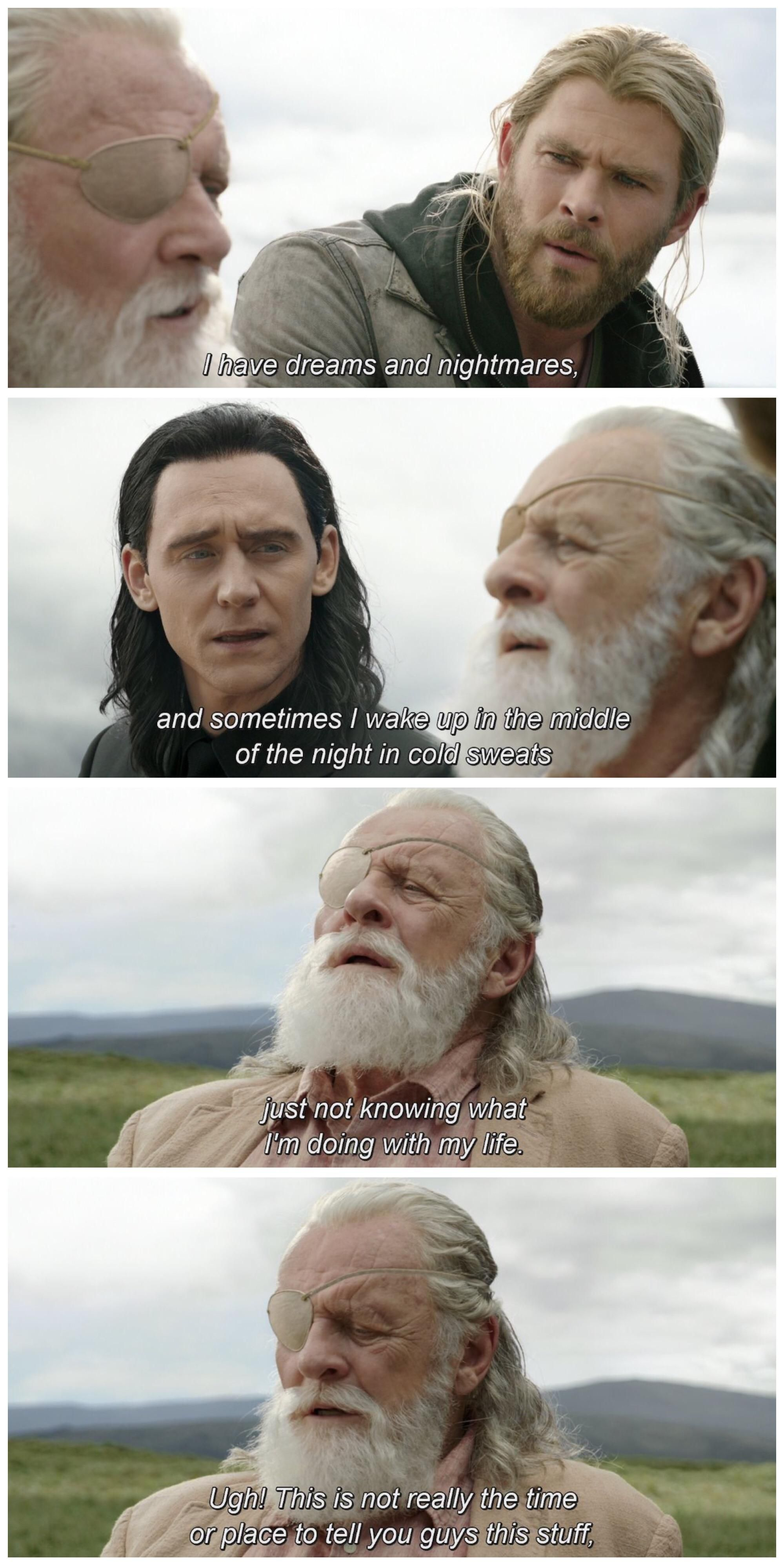 If You Watch Taika S Ragnarok Commentary Without Sound It S Just Odin Telling A Weird Story To His Sons Funny Marvel Memes Weird Stories Marvel Memes