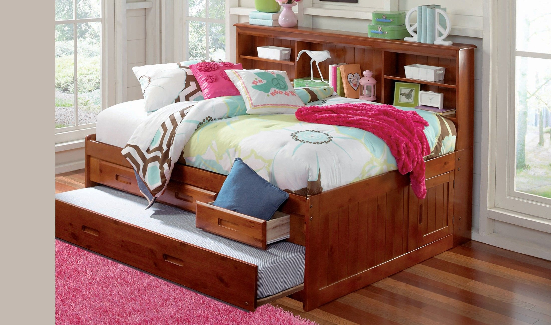 Perfect For Space Saving This Timeless Merlot Full Sized Bookcase Day Bed Offers A Variety Of Daybed With Storage Trundle Bed With Storage Daybed With Drawers Space saving full size bed