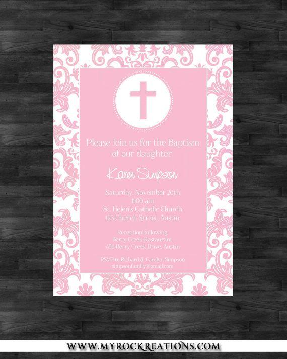 Girl Baptism Invitation Digital Printable File 1300 via Etsy