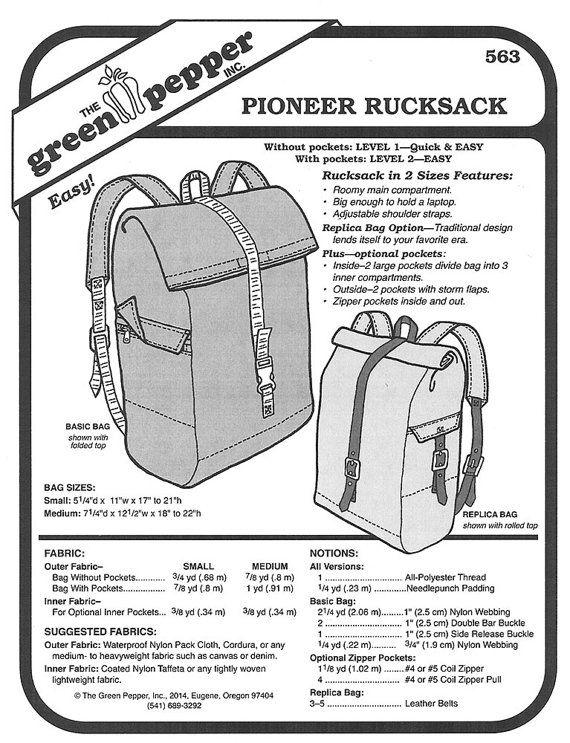 Sewing Pattern - Pioneer Rucksack Pattern, Back Bag Pattern, Green ...