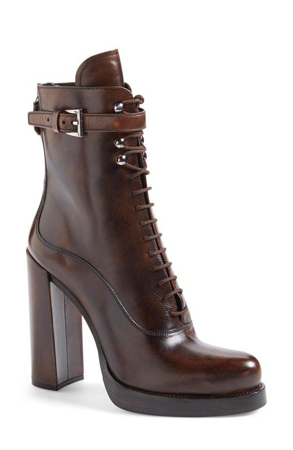 Prada Combat brown high heels Boot for Women