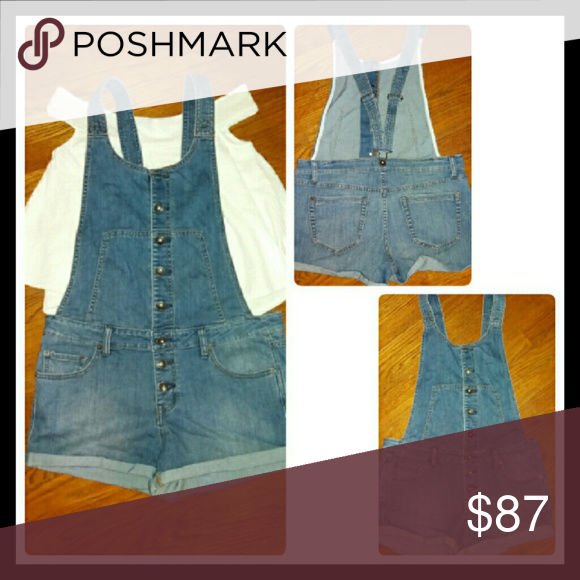 MAO/trade4FREE PEOPLE cuffed shorts overalls 🆕ADORABLE!!! overalls from FP..never got a chance to wear before gaining weight??...so they are in excellent new like condition..were just freshly laundered and hung to dry.. Free People Jeans Overalls