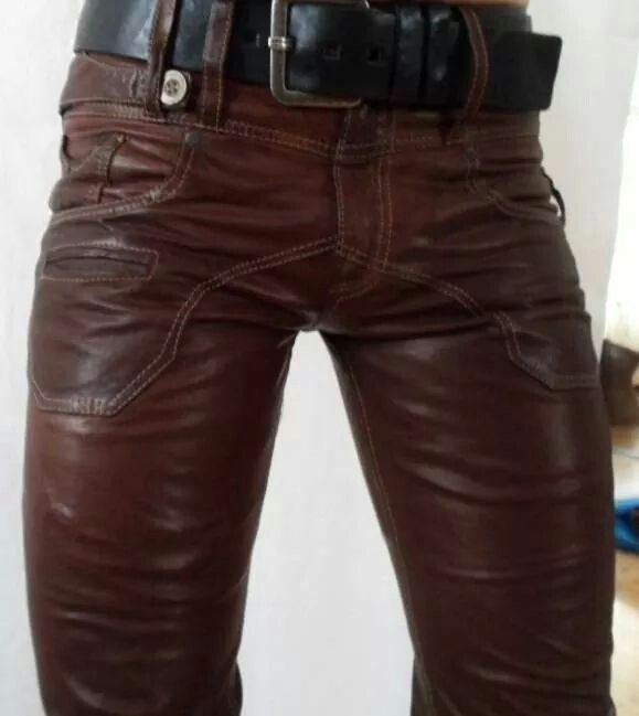 Mens Real Black /& Red Cow Leather Jeans Stylish Motorcycle Bikers Jeans Pants Trousers
