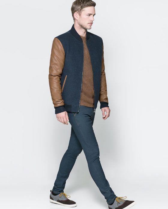 9565cd8304 Image 1 of COMBINATION BOMBER JACKET from Zara Fashion Jobs, Love Fashion,  Men Fashion