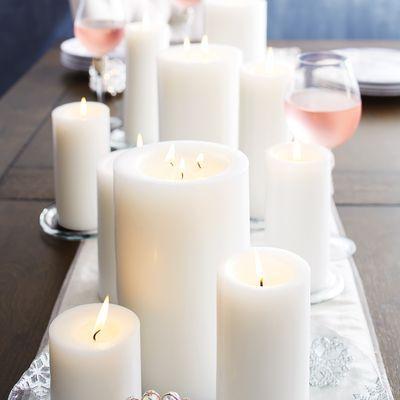 Unscented White Candles #whitecandleswedding