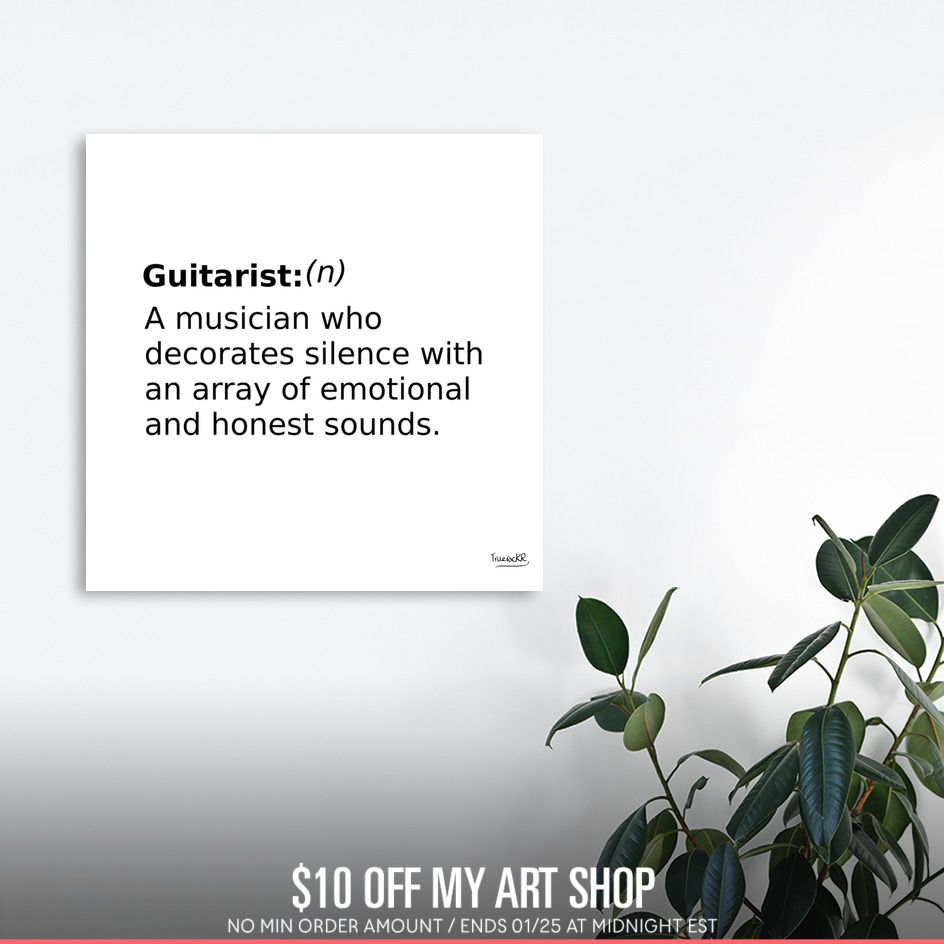 Discover «Definition Of A Guitarist», Numbered Edition Canvas Print By  TruerockR $49 Curioos. «