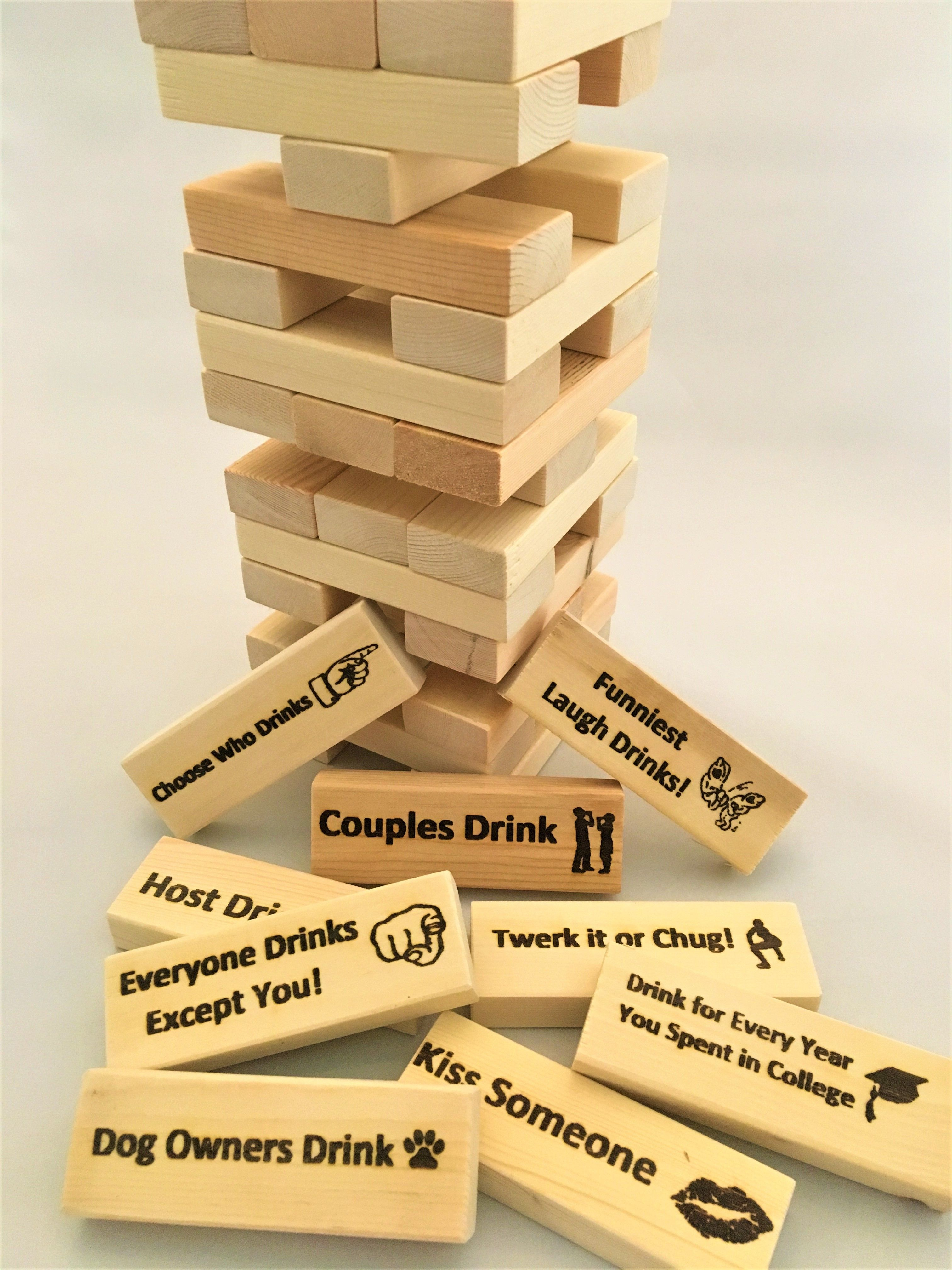 Laser Engraved Wood Party Blocks Drinking Game Drinking Games