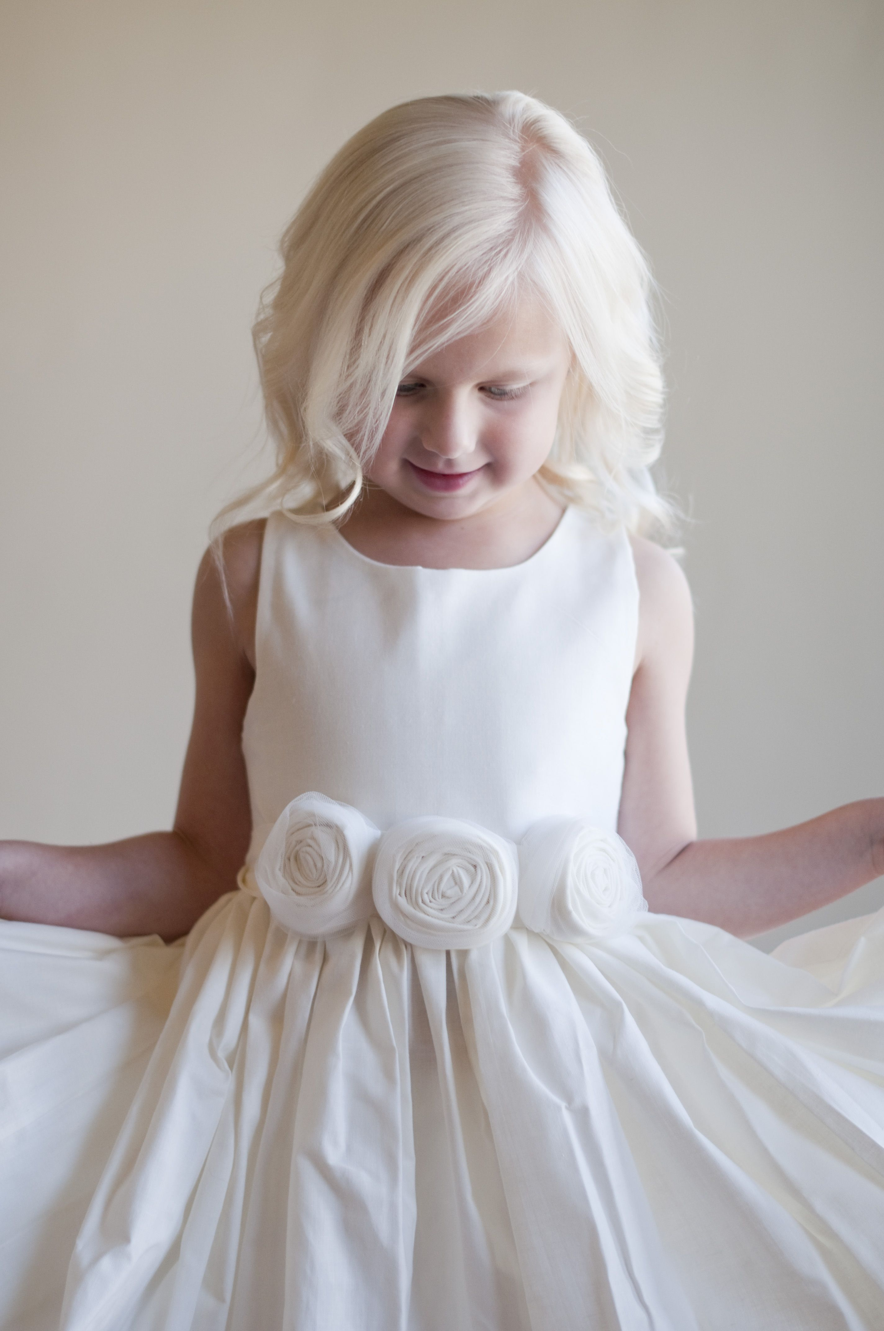 An ivory cotton flower girl dress with a full skirt and a rosette flower girl dress rustic flower girl bridesmaid by gillygray ombrellifo Choice Image
