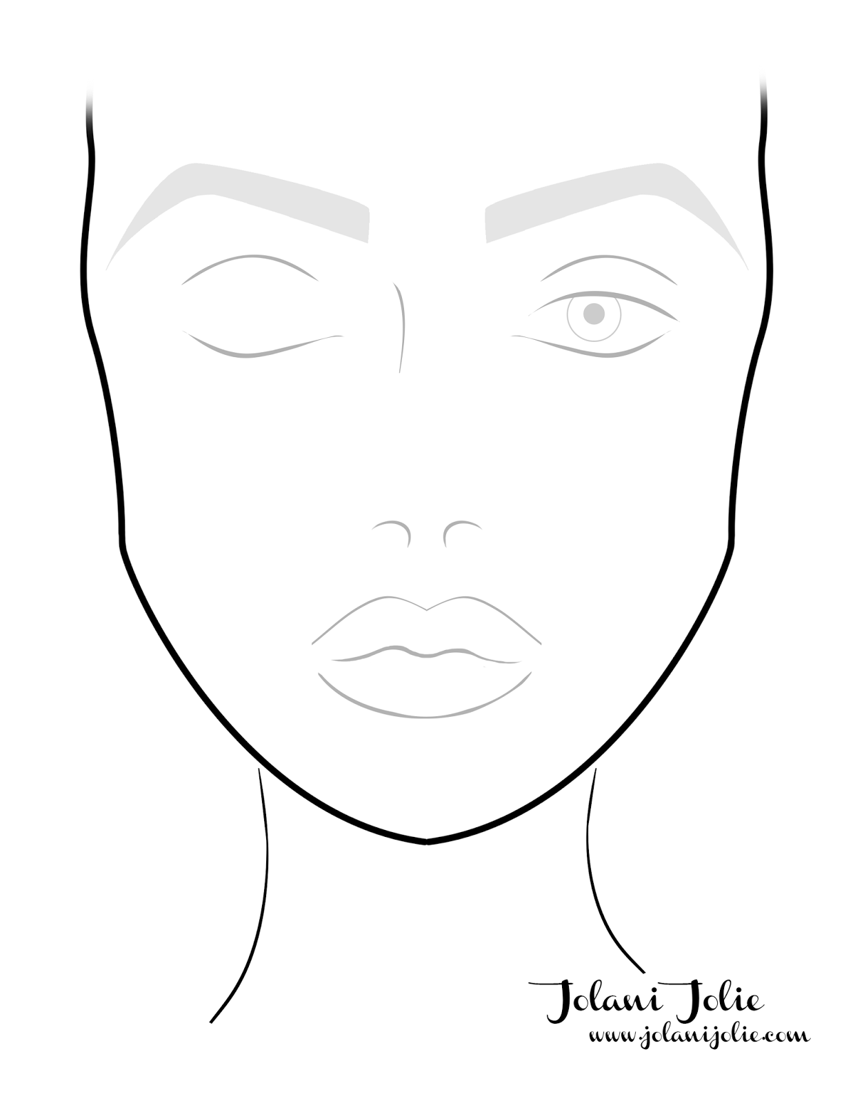 blank female face template - photo #31