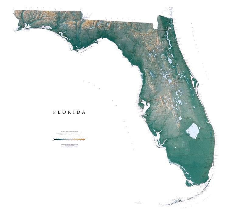 The Real Florida, topographical / geographical map of the state so dear to my heart... my homeland.