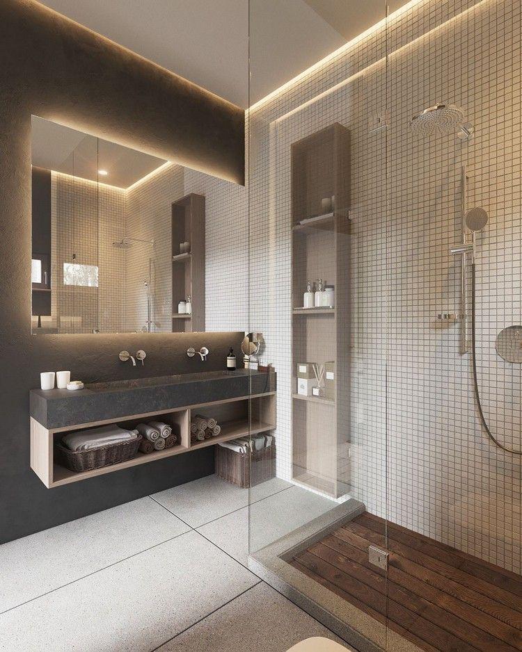 déco blanc et bois dans la salle de bain moderne avec cabine de ...