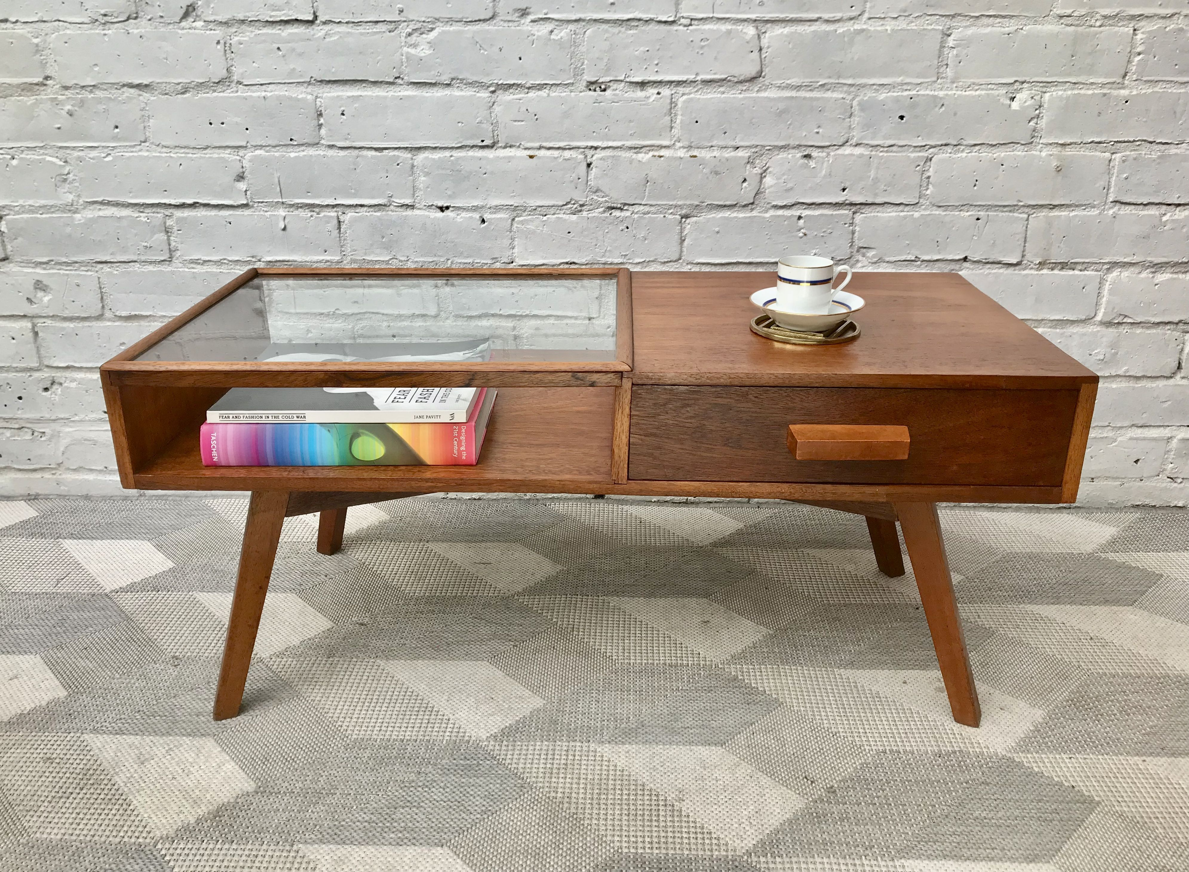 Mid Century Teak Coffee Table with Drawer #859 (With ...