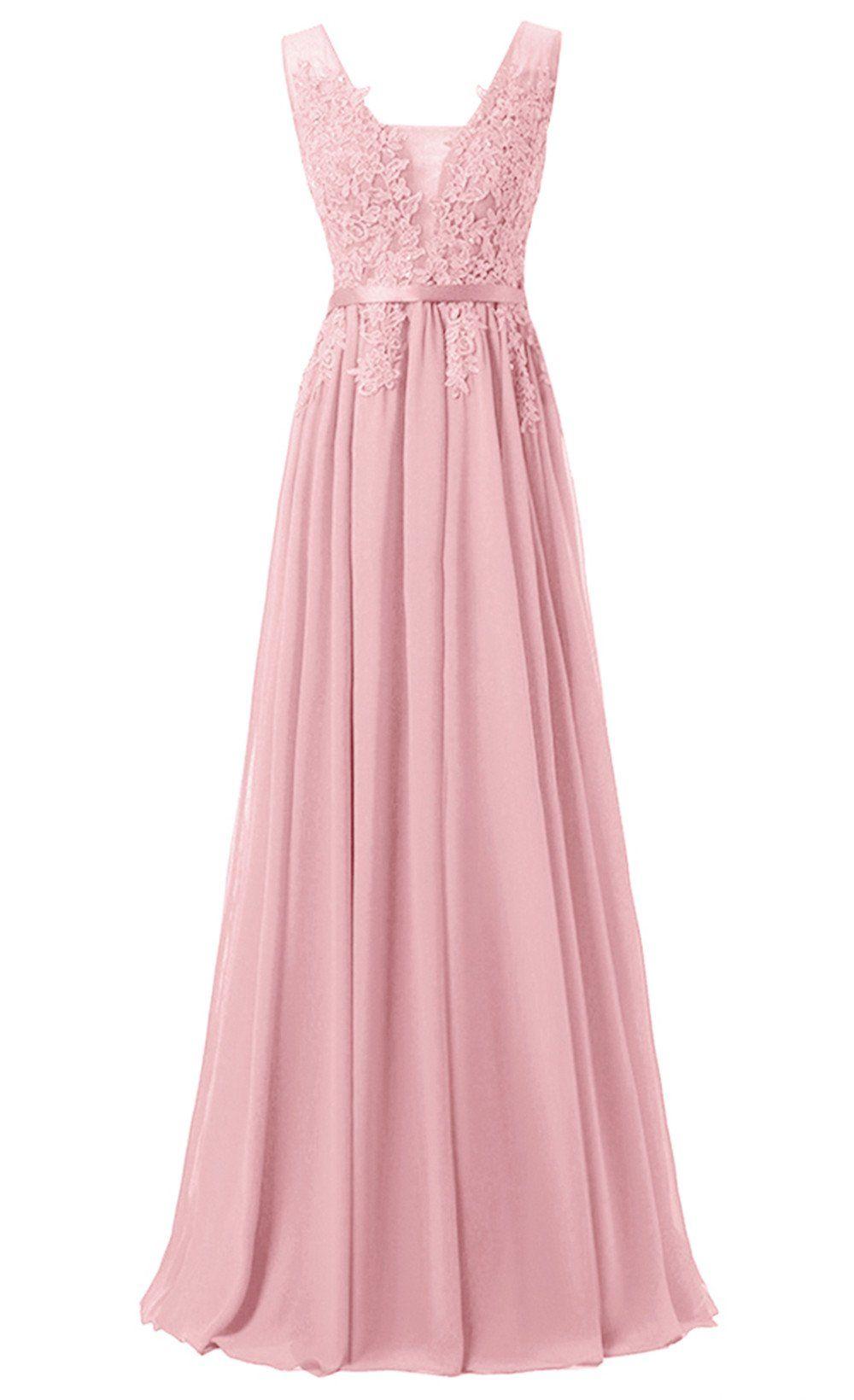 Lilis Graceful Chiffon Appliques Bridesmaid Dress Backless Floor-length Evening Gowns