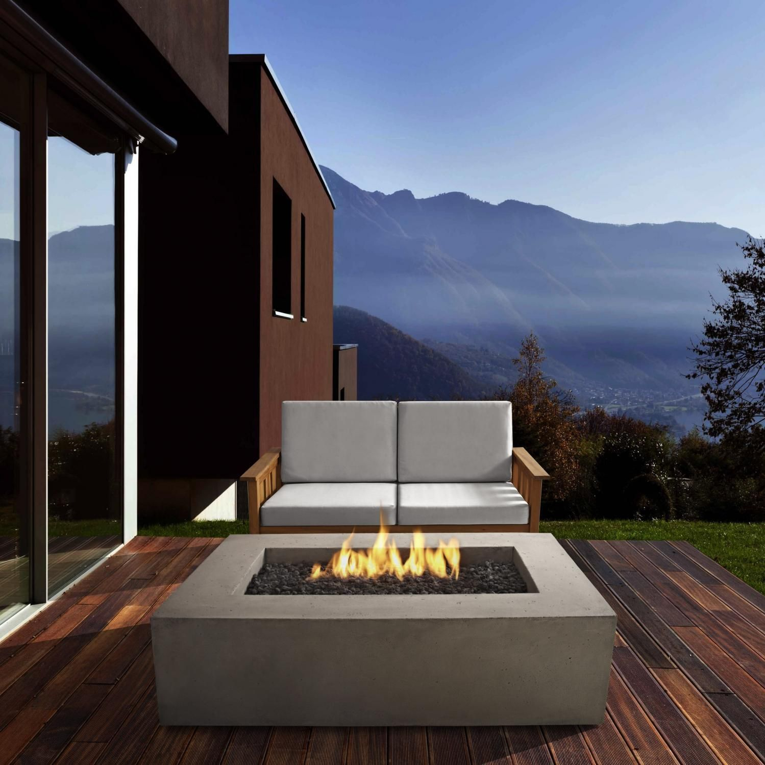 Baltic inch propane gas fire pit table by real flame glacier