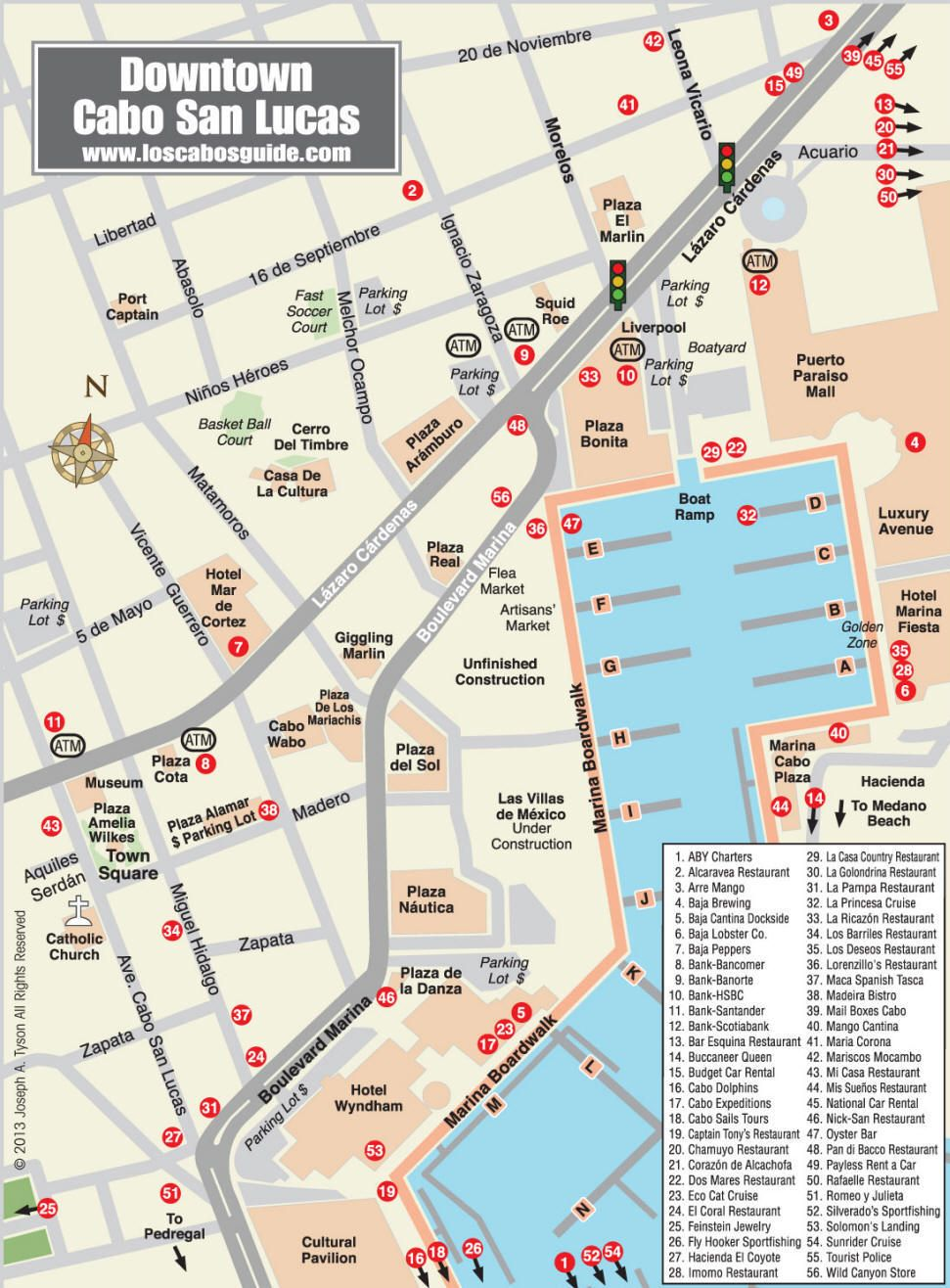 San Jose Del Cabo Mexico Map.Downtown Cabo San Lucas Map Los Cabos Guide Vacation Pinterest