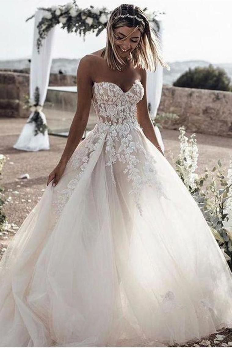 Photo of A Line Sweetheart Long Cheap Tulle Wedding Dresses With Lace