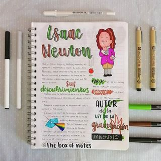 "THE BOX OF NOTES on Instagram: ""¡Hola a todos! Espero que les guste mucho este apunte acerca de Isaac Newton 😊 he empezado a combinar varios colores diferentes en los…"""
