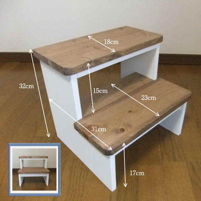 2 Schritt Sprungbrett Braun Weiss Holz Kid Span En 2020 Escalones De Madera Pequenos Proyectos De Madera Muebles De Bricolaje